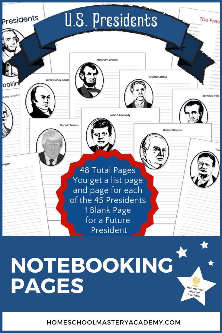 The Best Way to Research the U.S. Presidents is with Notebooking Pages