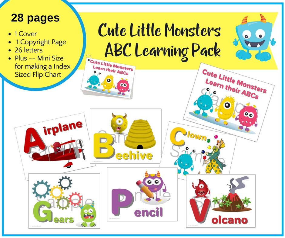 picture about Abc Printable known as Lovable Minor Monsters ABC Mastering Printable Deal Mini Turn Chart