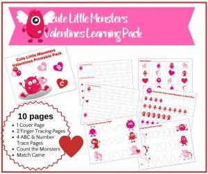 Cute Little Monsters Valentine Preschool Early Learning Pack