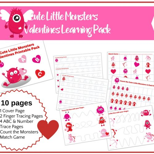 Cute Little Monsters Valentine Preschool Early Learning Pack