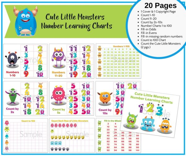 Cute Little Monsters Learning Numbers Charts & Printable Activities