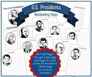 U.S. Presidents Notebooking Pages Package