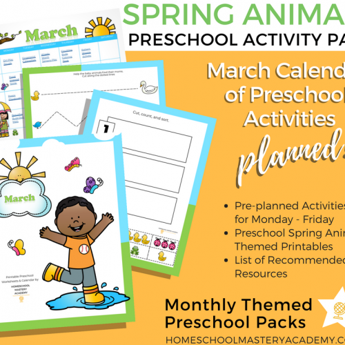 March Preschool Printables & Calendar of Activities Package