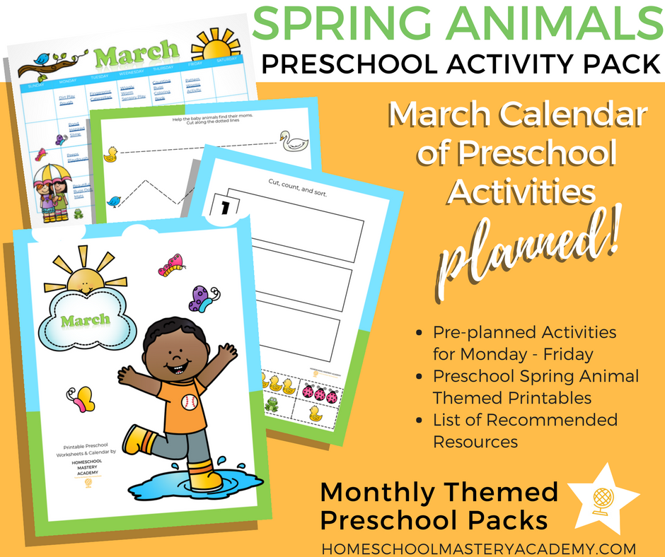 photograph about Preschool Calendar Printable named Spring Pets Preschool Printables Calendar of Routines Bundle