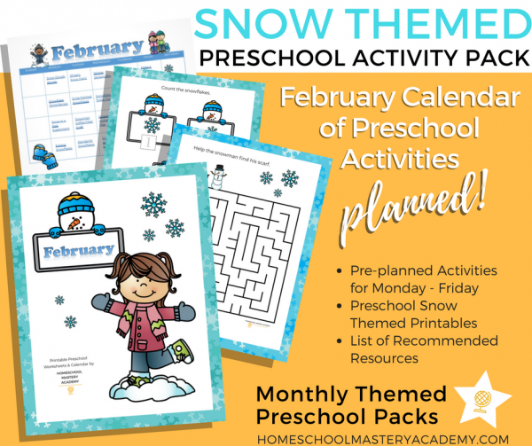 Snow Themed Preschool Calendar + Activity Pack