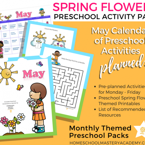 Spring Flowers Preschool Activity Pack + May Calendar of Preplanned Activities