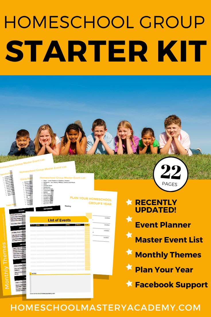 Ready to start a homeschool group? We make it super easy for you! With 22 pages of planners, event ideas, and more. #homeschoolgroup #homeschoolsupport #startahomeschoolgroup #homeschoolcommunity