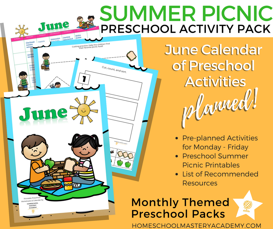 Summer Picnic Preschool Activity Pack + Calendar