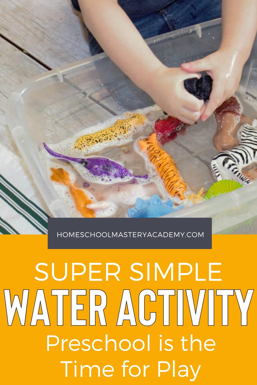 Here is a super simple water activity preschool children always enjoy. We love activities that encourage learning through play! #preschool #learningthroughplay #preschoolideas #preschoolactivities