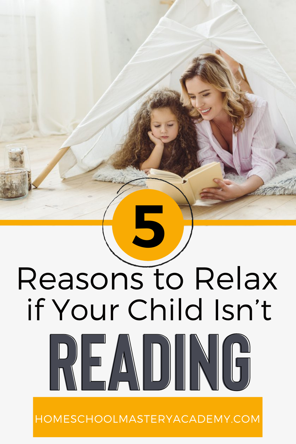 Are you panicking because child isn't reading yet? It's important to know that not every child learns at the same pace. #homeschool #reading #teachreading #homeschoolmom