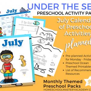 Under the Sea Preschool Activity Pack + Calendar