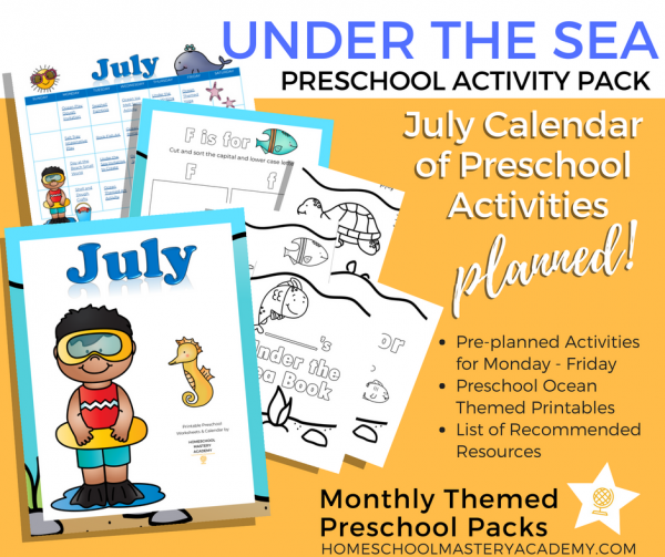 Under the Sea Preschool Activity Pack + Calendar