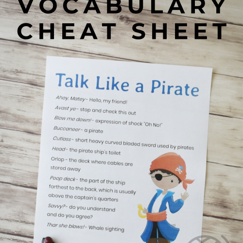 How to Talk Like A Pirate Vocabulary Cheat Sheet - Perfect for Talk Like A Pirate Day or Pirate History in Your Homeschool. Grab it F-R-E-E! #talklikeapirteday #pirates #piratesforkids #homeschool