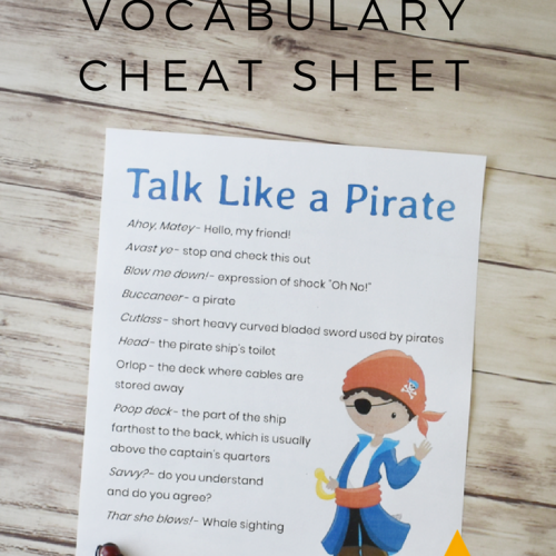 How to Talk Like A Pirate Vocabulary Cheat Sheet
