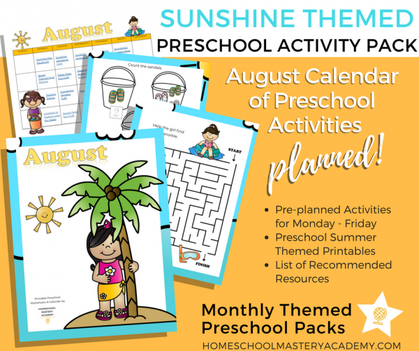 Summertime and Sunshine Preschool Activity Pack + Calendar