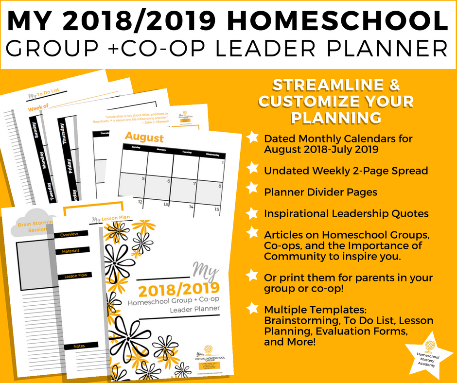 2018/2019 Homeschool Group + Co-op Leader Planner