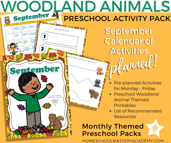 Woodland Creatures Fall Theme Preschool Activity Pack + Calendar