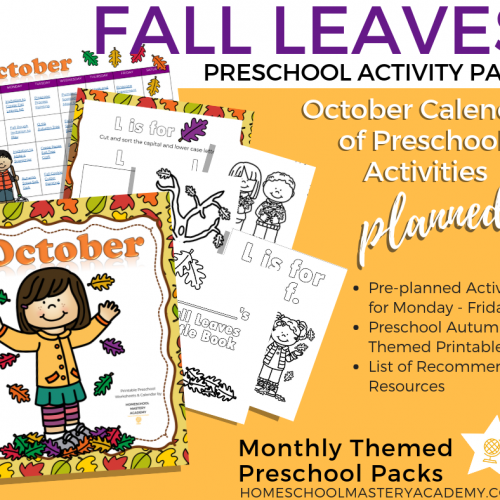 Fall Leaves Themed Preschool Activity Pack + Calendar