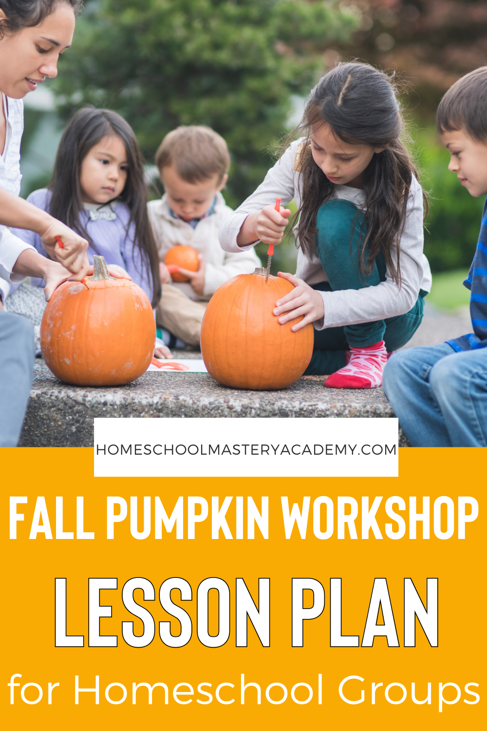 Pumpkin workshop lesson plan for homeschool groups! Enjoy this easy to follow lesson plan and workbook pack for grade K-3rd, perfect for homeschool groups! #pumpkins #homeschool #homeschoolgroup #homeschoolgroupactivities