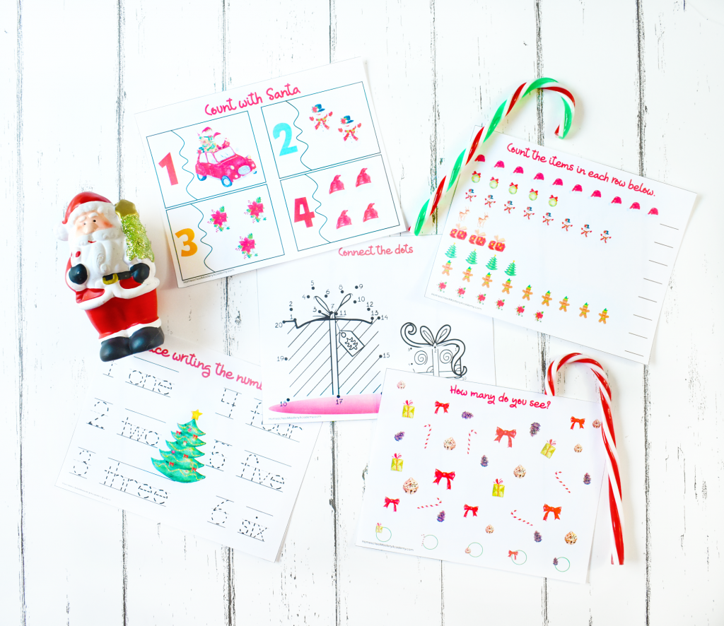 Colorful Learn to Count with Santa Preschool Printables