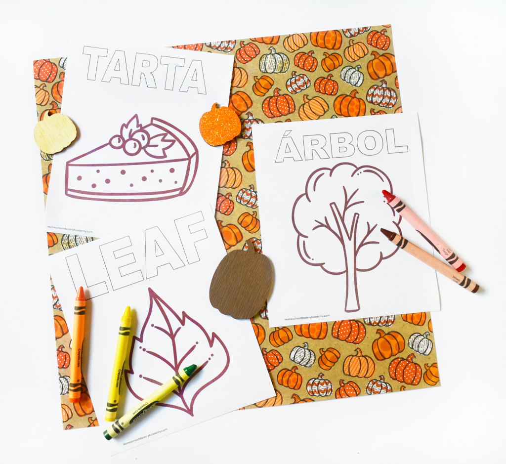 Fall Spanish Vocabulary Coloring Printable Pages