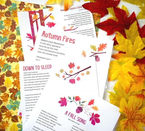 Beautiful Harvest Poetry Pack Homeschool Printables
