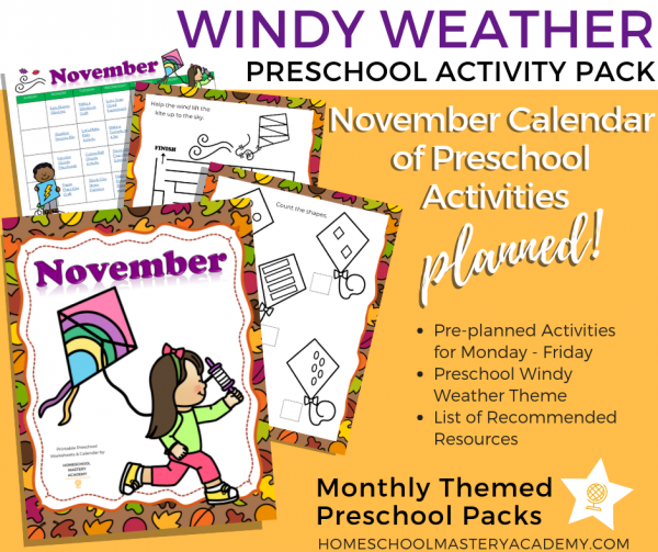 Windy Weather Themed Preschool Activity Pack + Calendar