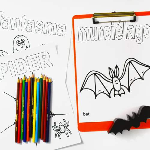 Halloween Spanish Vocabulary Coloring Printable Pages