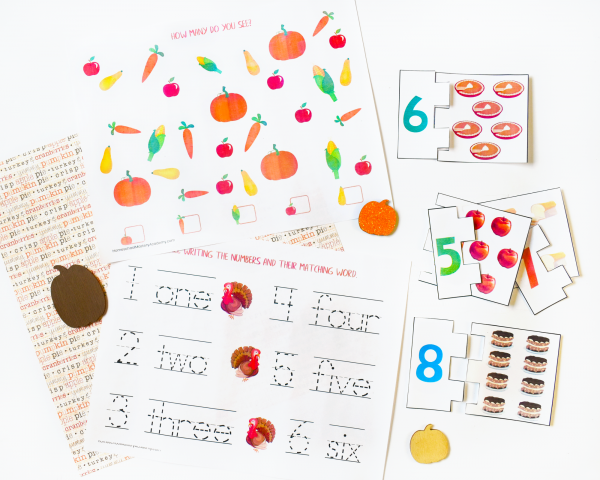 Thanksgiving Math Counting & Copy Work Printables