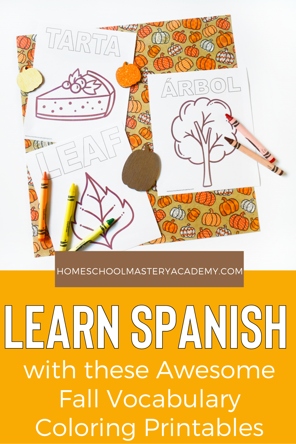 These fall Spanish coloring pages are perfect for your classroom or your homeschool to mix things up and add some vocabulary fun!