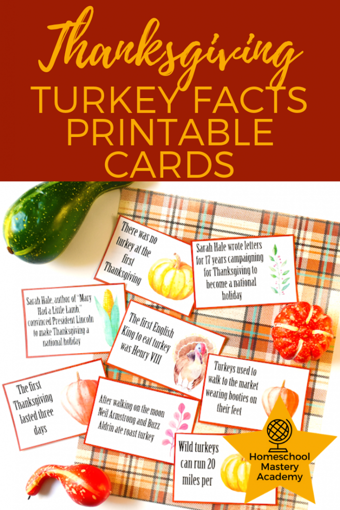 Thanksgiving Turkey Facts Printable Cards