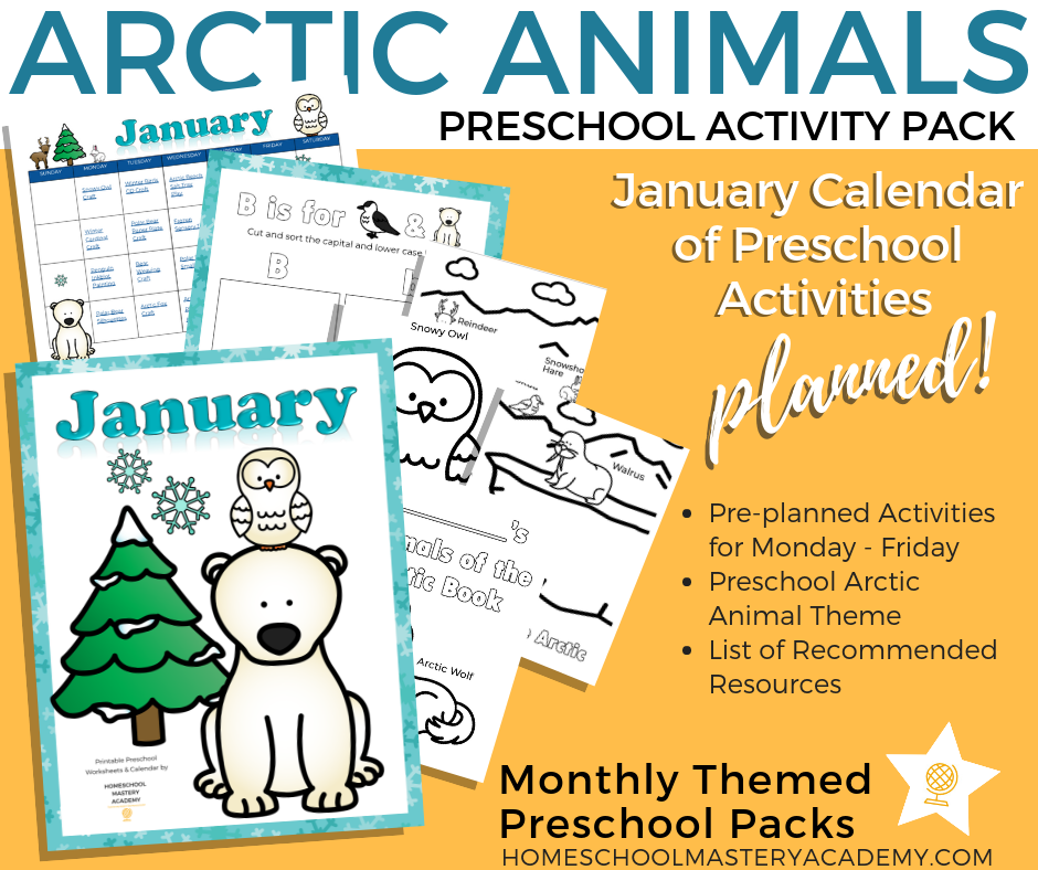 January Calendar Artic Animals Preschool
