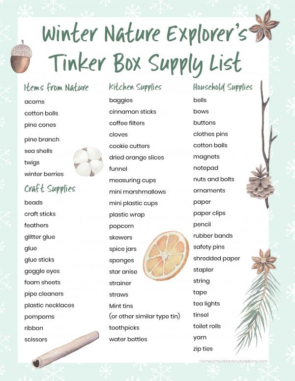 Winter Nature Tinker Box Supply List