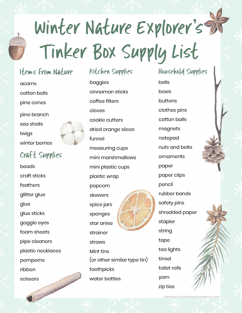 Winter Nature Tinker Box Supply List