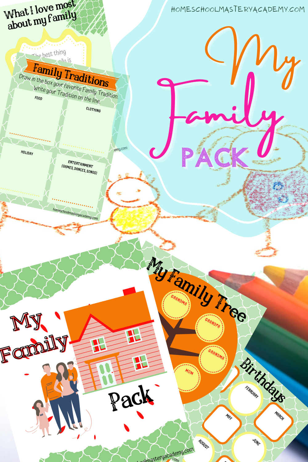 My Family Printable Pack - Perfect for preschool through elementary students to learn and explore all about their families! #family #homeschool #printables #myfamily #homeschoolcurriculum