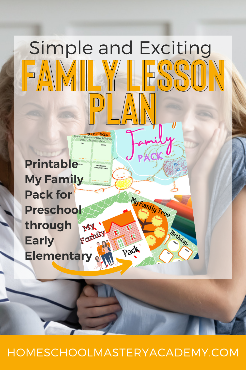 Family Lesson Plan for Kindergarten - A full printable pack for learning all about your unique family for children preschool through early elementary. #myfamily #family #preschool #kindergarten #lessonplans #firstgrade