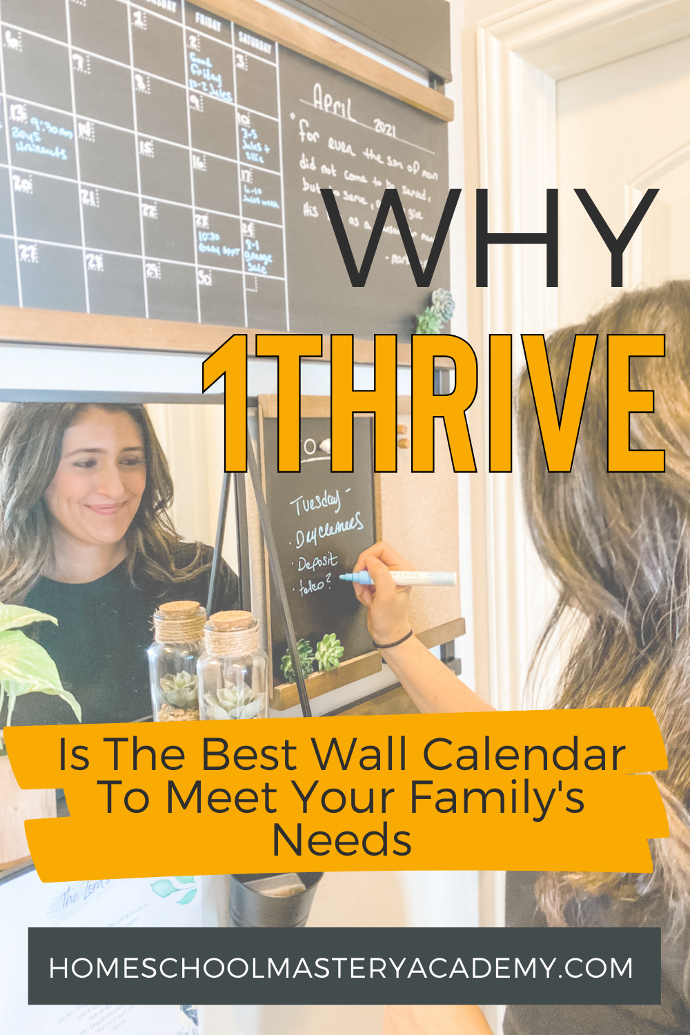 1Thrive Wall Calendar Organizational System - This is the BEST system to organize your life and family. See how easy it is to have a beautiful family command center in your home! #organization #wallcalendar #homeschool #family #calendar #commandcenter #familycommandcenter